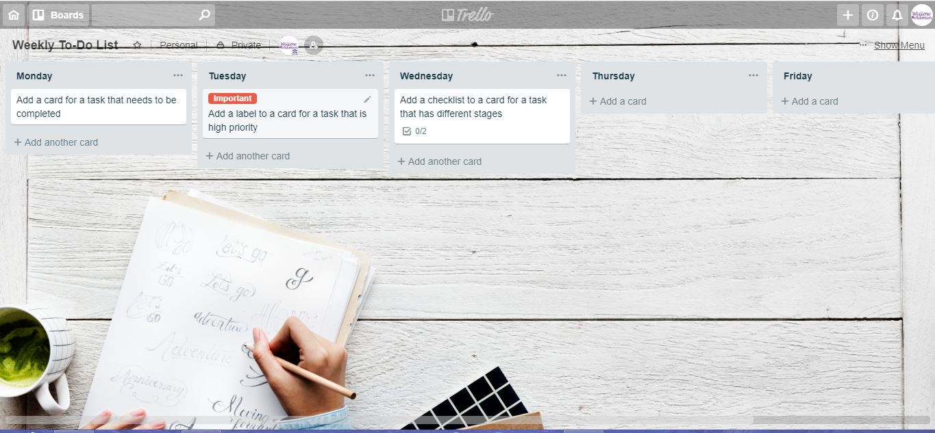 weekly to do list Trello board